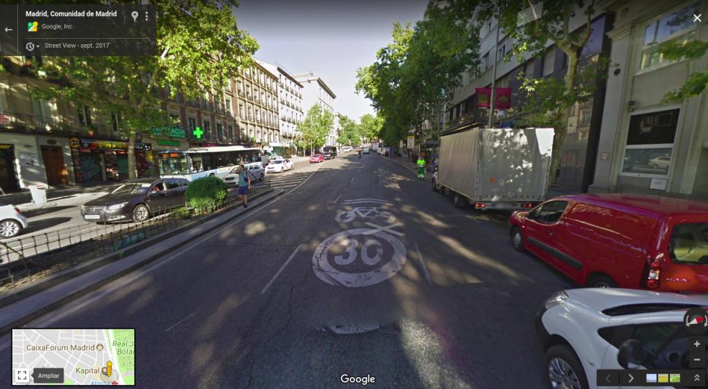 Configuración carriles Calle Atocha - Tres carriles
