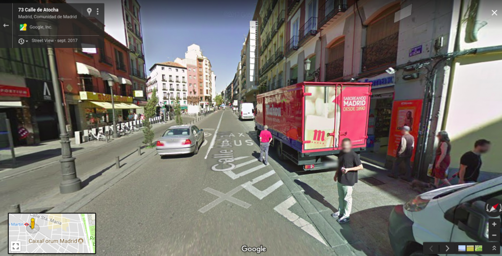 Configuración carriles Calle Atocha - Ciclocarril y carril BUS-Taxi