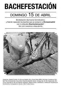 Cartel de la Bacheclamación que organiza la Coordinadora Ciclista de Madrid