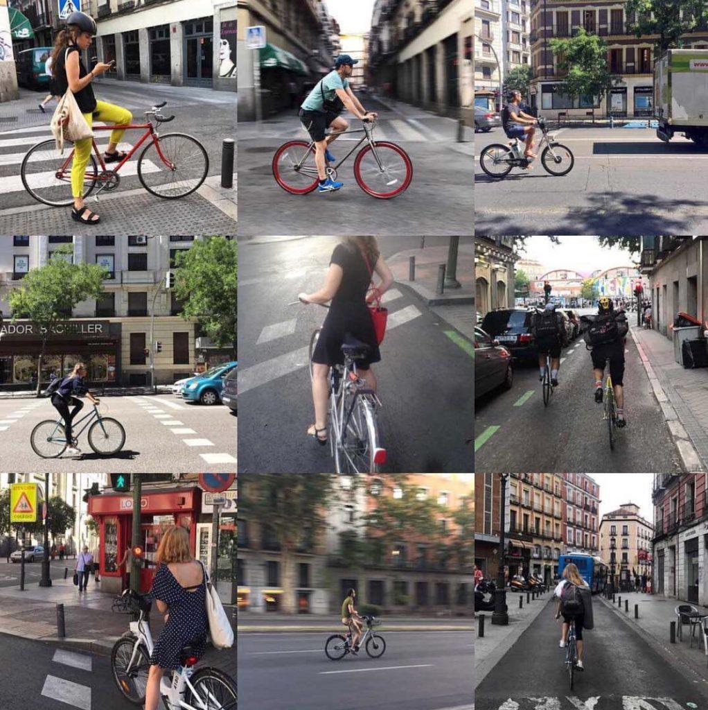 Mosaico de ciclistas disfrutando de la ciudad