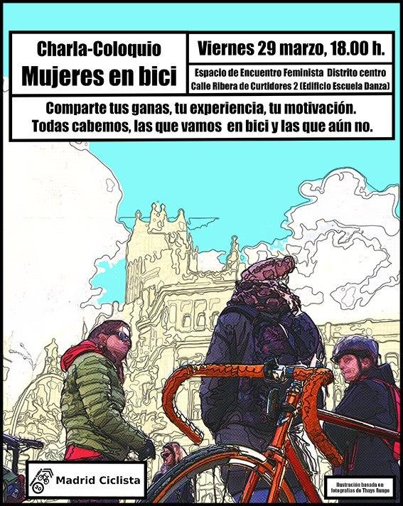 Charla organizada por Madrid Ciclista dirigida a mujeres que montan o quieren montan en bici por Madrid