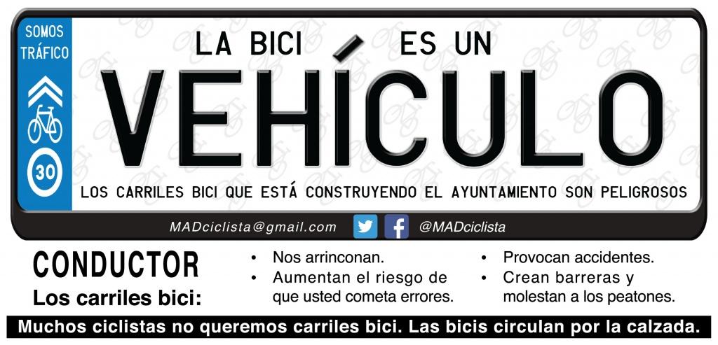 Flyer de Madrid Ciclista en la acción en Moratalaz contra el CB de Vinateros