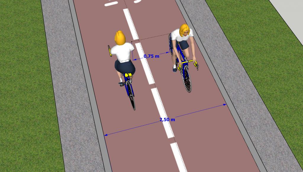 Carril bici bidireccional de 2,50m de anchura. Imposible mantener la distancia de seguridad recomendada por el Ministerio de Sanidad por el COVID-19