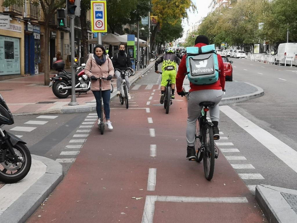 Cruce en el carril bici de Santa Engracia