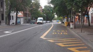 Vista de Ronda de Segovia y su carril bus temporal
