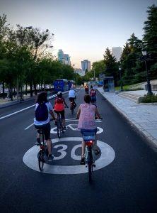 Ciclocarril 30 en el Paseo de la Castellana, Madrid