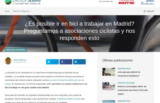 Madrid ciclista comparte su experiencia yendo al trabajo en bicicleta en Circula Seguro